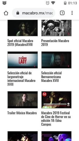 Ejemplo de la página web móvil de Macabro