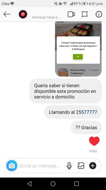 Ejemplo de mal atención a clientes en Instagram