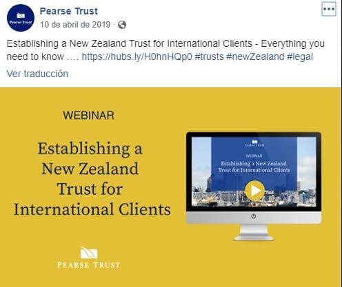 Ejemplo de marketing global de Pearse Trust en Facebook