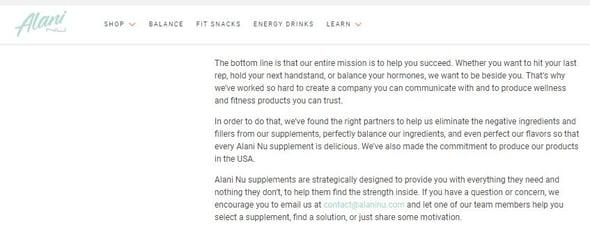 Ejemplo de branding de marca de Alani Nu