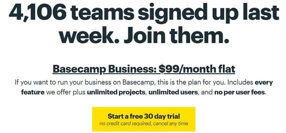 Ejemplo de negocio SaaS con tarifa fija- Basecamp