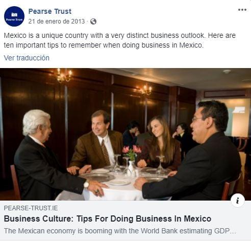 Ejemplo de post para el marketing global de Pearse Trust