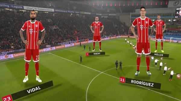 Ejemplo de realidad aumentada en los partidos de fútbol