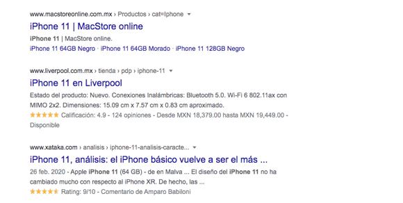 Ejemplo de schema markup en Google en la búsqueda «iPhone 11»