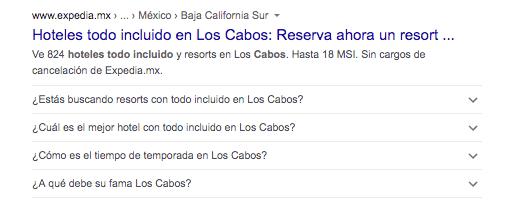 Ejemplo de schema markup en Google