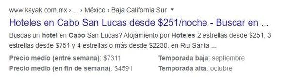 Ejemplo de schema markup en una búsqueda sobre «Hoteles en Los Cabos»