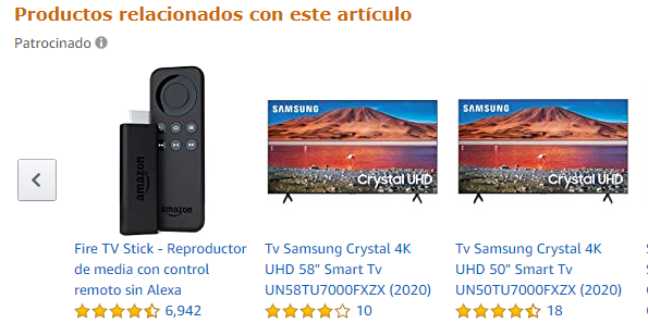 Ejemplo de técnicas cross-selling en Amazon