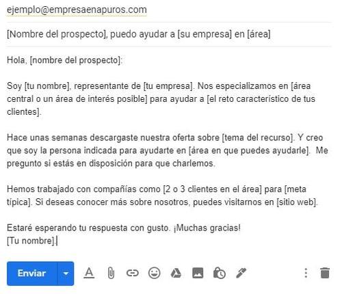Ejemplo de un correo para ofrecer un producto- contacto inicial