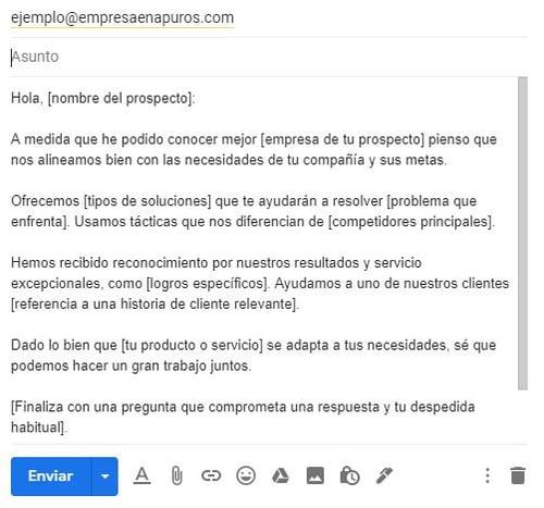 Ejemplo de un correo para ofrecer un producto- propuesta de ventas