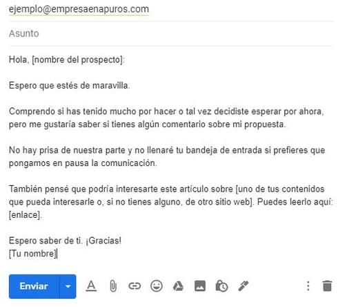 Ejemplo de un correo para ofrecer un producto- retomar propuesta