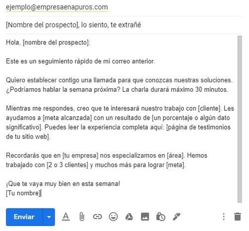 Ejemplo de un correo para ofrecer un producto- seguimiento