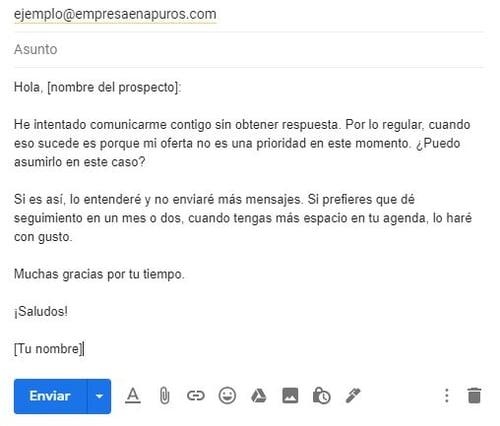 Ejemplo de un correo para ofrecer un producto- último seguimientov