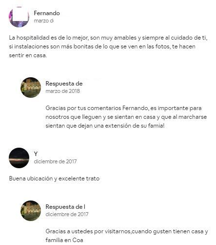 Ejemplo del uso del feedback positivo en un alojamiento de Airbnb