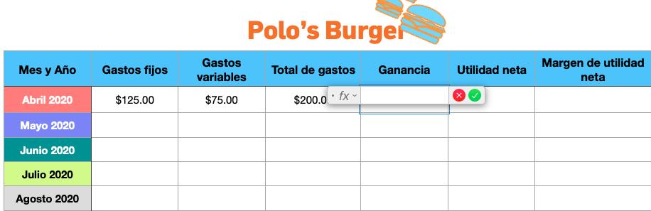 Excel para cálculo de margen de ganancia