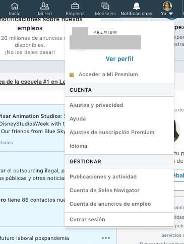 Exportar contactos de LinkedIn desde el menú «Yo»