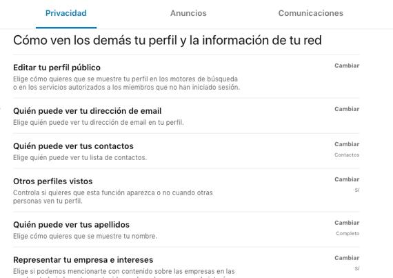 Exportar contactos en LinkedIn desde la sección de ajustes