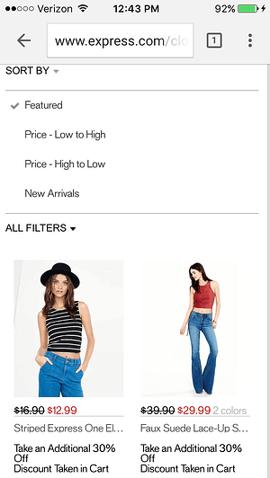 Express, sitio web móvil de ecommerce