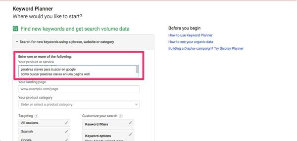 Buscar palabras clave en Google Keyword Planner
