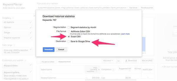 Descargar resultados Google Keyword Planner