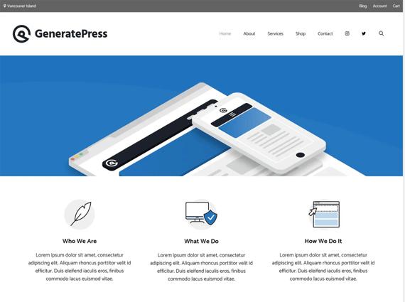 GeneratePress, plantilla de WordPress