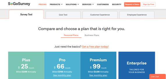 Herramienta para cuestionarios de clientes SoGoSurvey