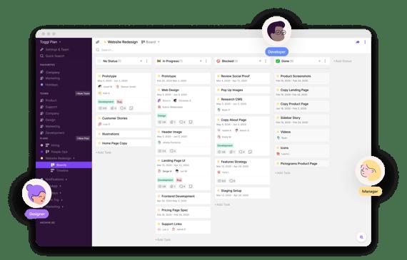 Herramientas de gestión de proyectos gratis- Toggl