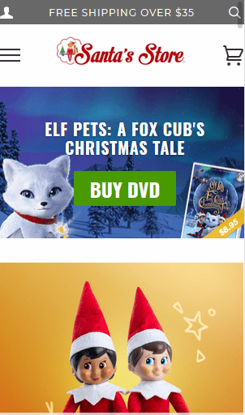 Imágenes grandes de categorías en el sitio móvil de la tienda de Elf on the Shelf