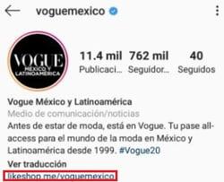 Link en biografía de Instagram