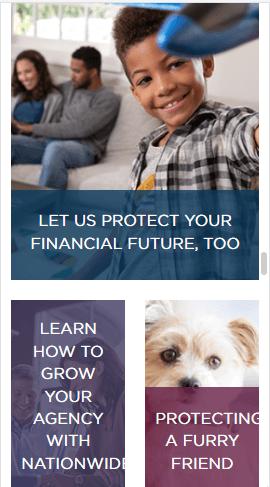 Llamadas a la acción en sitio móvil de Nationwide Insurance