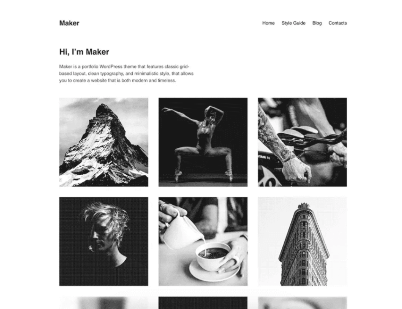 Maker, plantilla creativa de WordPress
