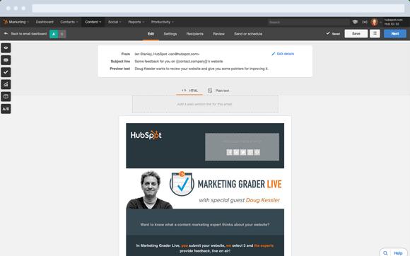 Mejores herramientas de email marketing gratis: HubSpot