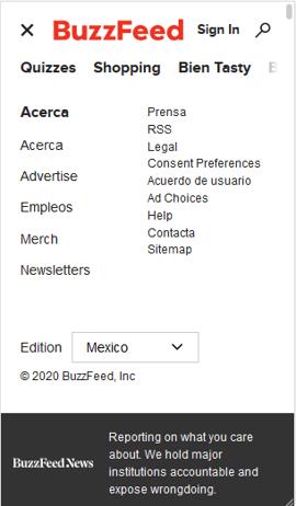 Menú del sitio móvil de BuzzFeed