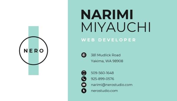 Tarjeta de presentación elegante: Narimi Miyauchi