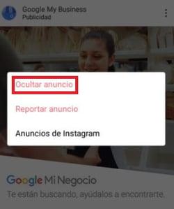 Ocultar un anuncio en Instagram