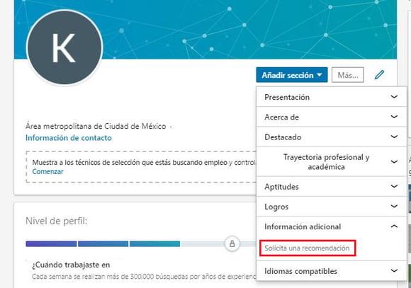 Opción «Pedir una recomendación» en LinkedIn