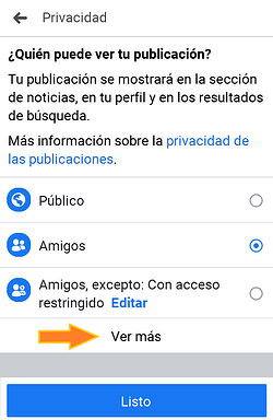 Opciones de privacidad en un Facebook Live