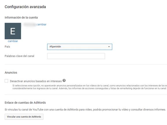 Opciones para personalizar un canal de YouTube
