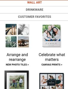 Página de Shutterfly con productos de gran tamaño en su web móvil