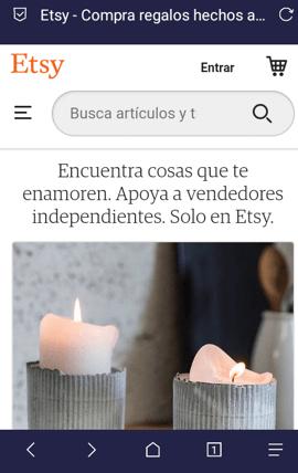 Página móvil de Etsy