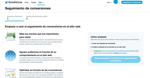 Panel de seguimiento de conversiones en Twitter Analytics