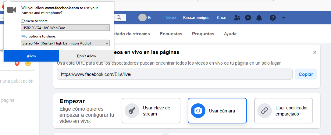 Permisos de Facebook en PC o Mac