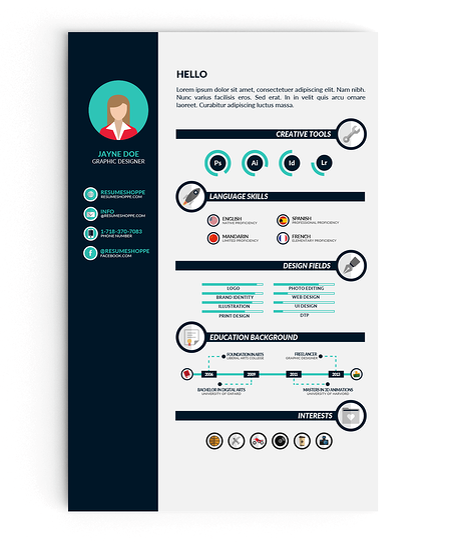 Plantilla de CV creativa con íconos