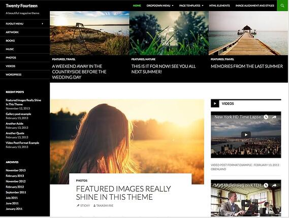 Plantilla de WordPress Twenty Fourteen para revistas o blogs personales