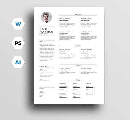 Plantilla para CV minimalista para profesionales