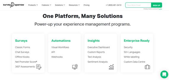 Plataforma de encuestas online SurveySparrow