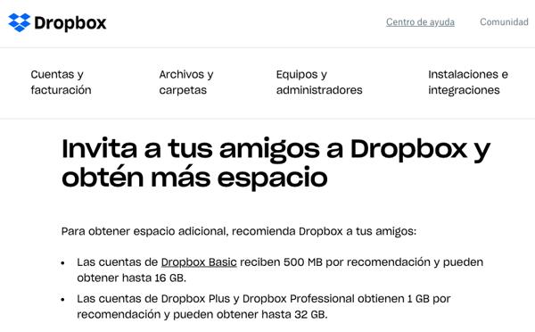 Programa de referidos- ejemplo de Dropbox