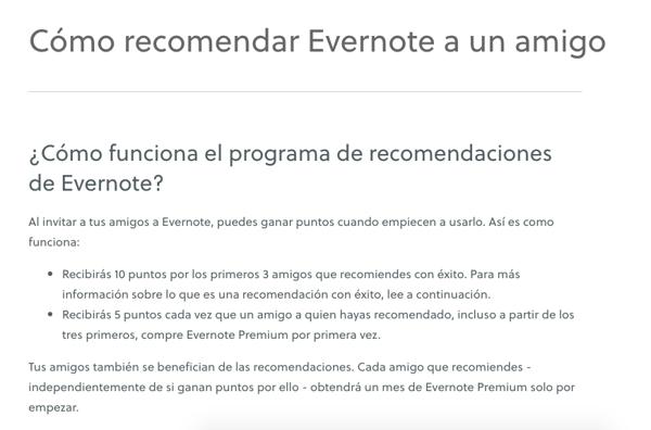 Programa de referidos- ejemplo de Evernote