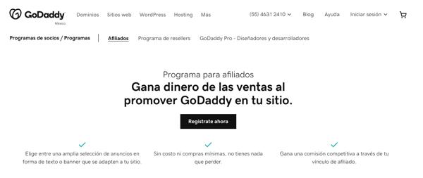Programa de referidos- ejemplo de GoDaddy