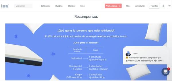 Programa de referidos- ejemplo de Luuna