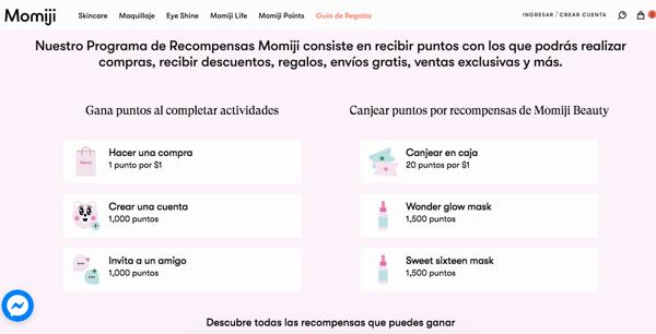 Programa de referidos- ejemplo de Momiji